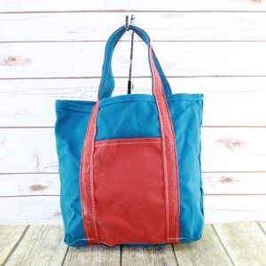 LL BEAN Women's Blue Orange Canvas Boat & Tote Bag